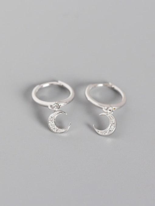 Platinum 925 Sterling Silver Rhinestone White Moon Trend Huggie Earring