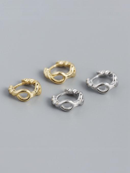 ACEE 925 Sterling Silver Geometric Vintage Huggie Earring