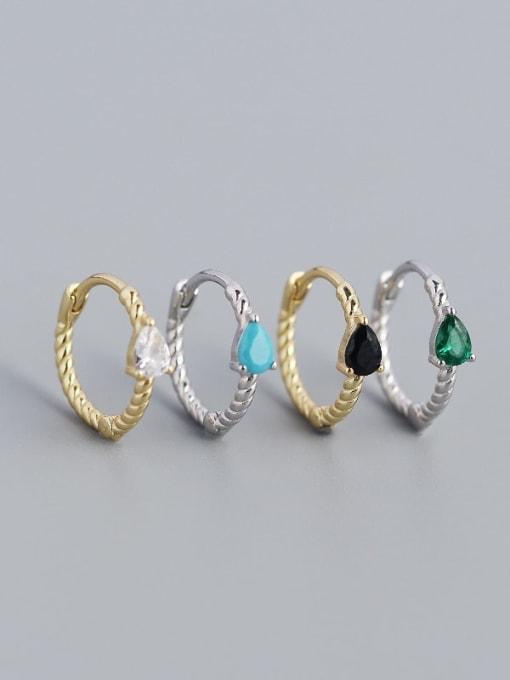 ACE 925 Sterling Silver Cubic Zirconia Geometric Trend Huggie Earring 1