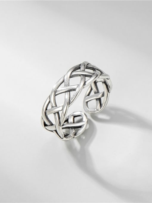 Line ring 925 Sterling Silver Hollow Geometric Vintage Band Ring