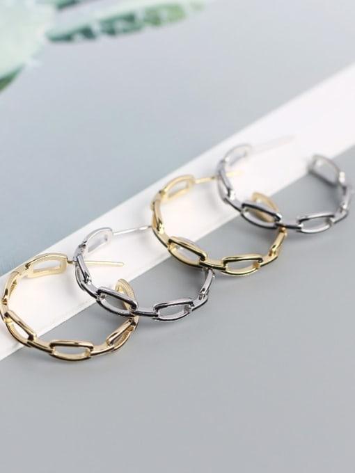 ACE 925 Sterling Silver Cubic Zirconia Geometric Minimalist Hoop Earring 2