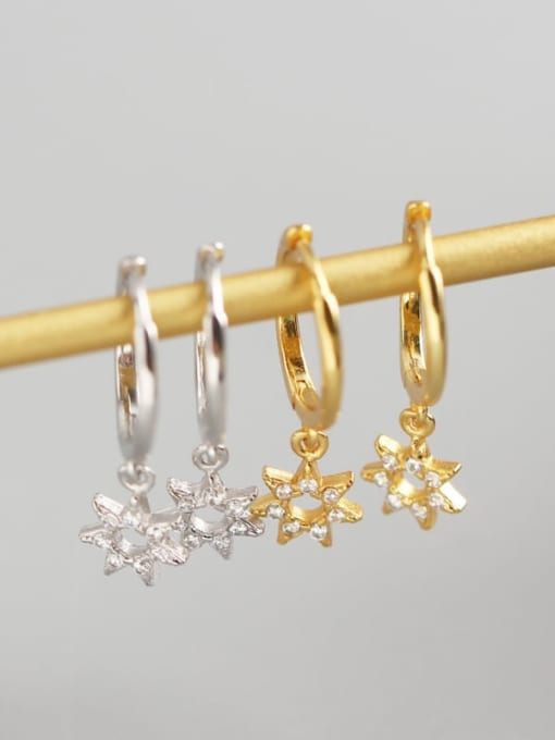 ACE 925 Sterling Silver Rhinestone White Star Cute Huggie Earring 1