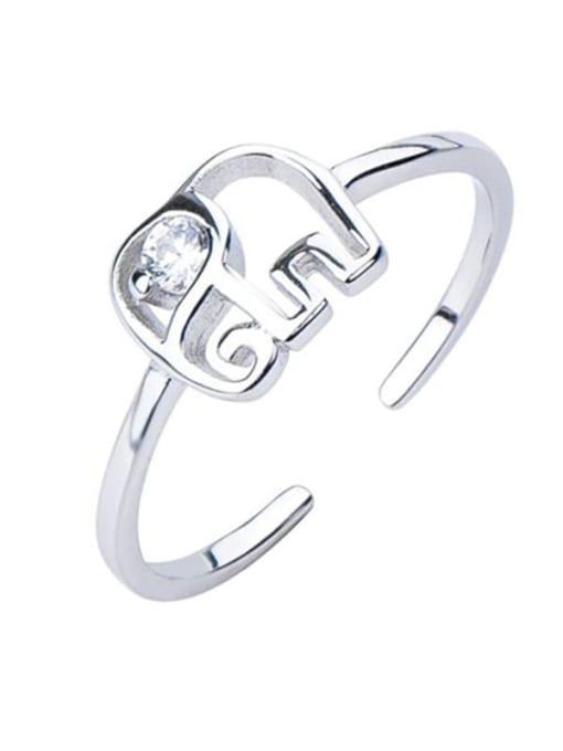 ARTTI 925 Sterling Silver Elephant Minimalist Band Ring 2