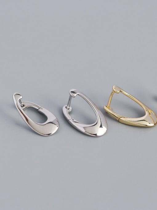 ACE 925 Sterling Silver Irregular Minimalist Huggie Earring 0