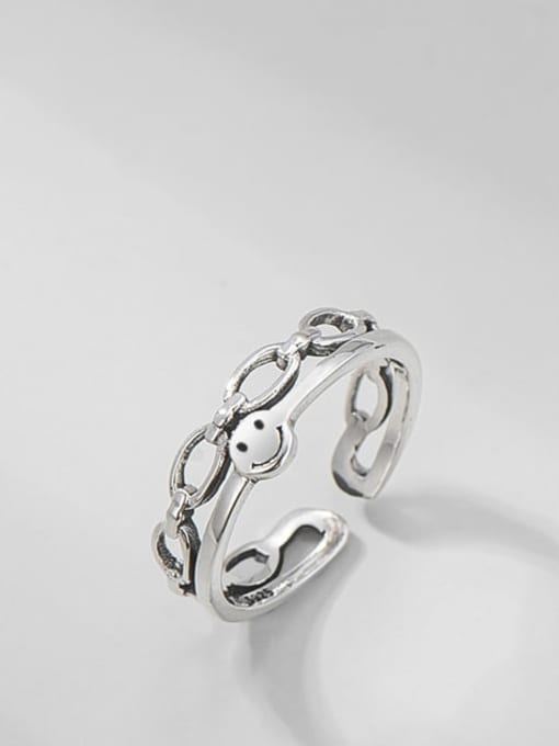 ARTTI 925 Sterling Silver Smiley Vintage Stackable Ring 0