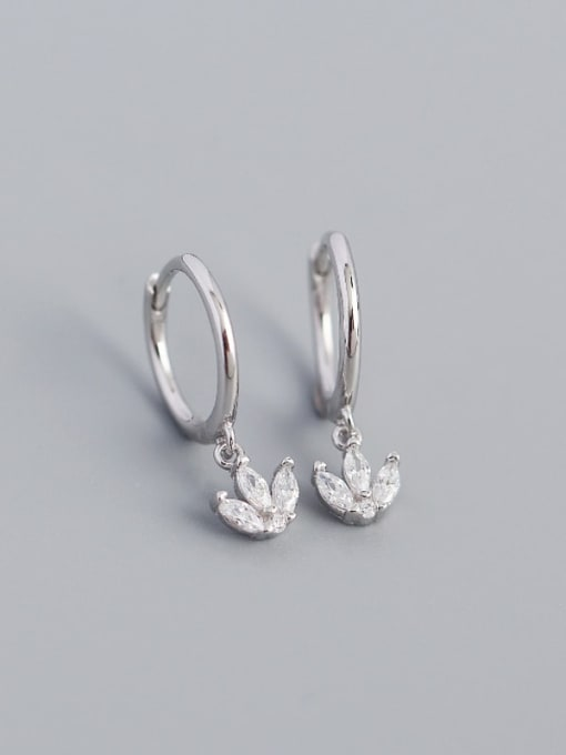 Platinum 925 Sterling Silver Cubic Zirconia Leaf Vintage Huggie Earring