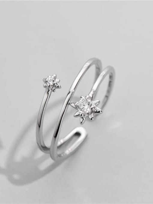 Six pointed star ring 925 Sterling Silver Rhinestone Irregular Vintage Stackable Ring