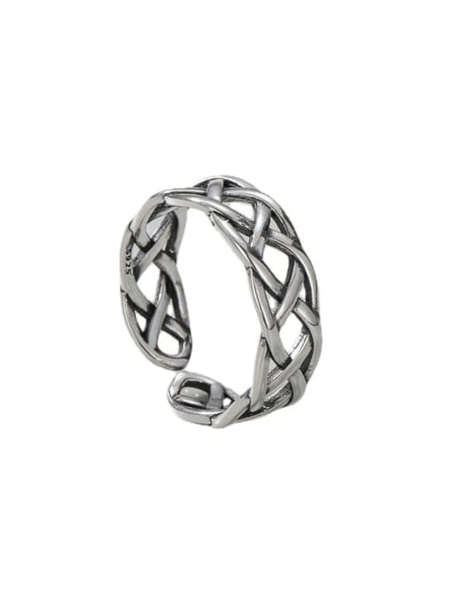 ARTTI 925 Sterling Silver Hollow Geometric Vintage Band Ring 2
