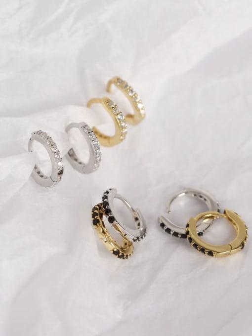 ACE 925 Sterling Silver Cubic Zirconia White Geometric Dainty Huggie Earring 1