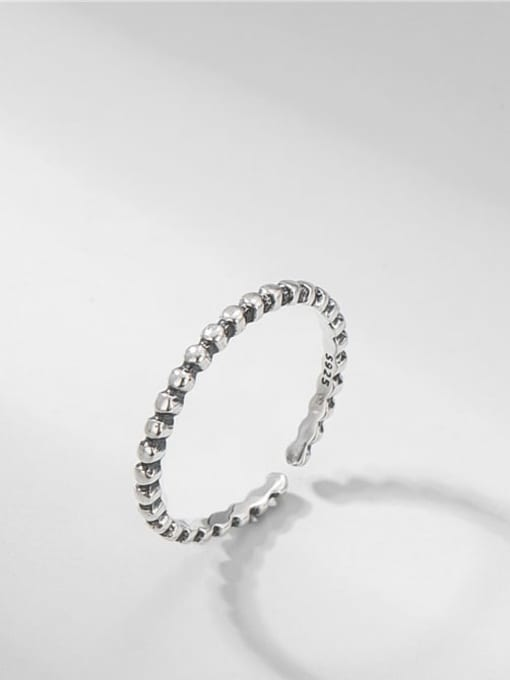 Beaded ring 925 Sterling Silver Round Vintage Band Ring