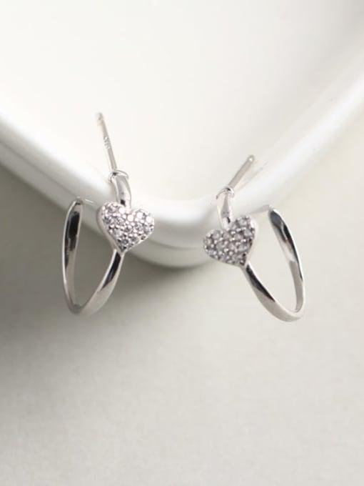 ACE 925 Sterling Silver Rhinestone White Heart Dainty Cluster Earring 2