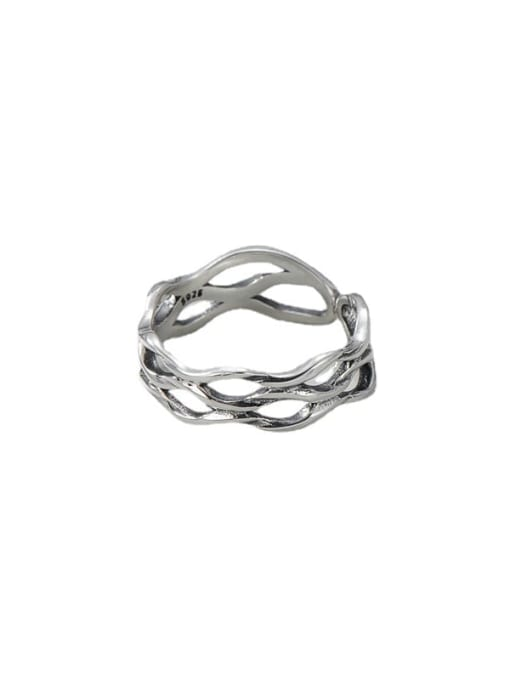 ARTTI 925 Sterling Silver Hollow Geometric Vintage Stackable Ring 3