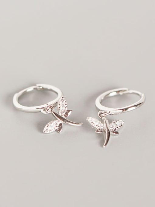 Platinum 925 Sterling Silver Dragonfly Trend Huggie Earring