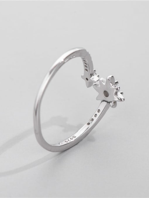 ARTTI 925 Sterling Silver Cubic Zirconia Star Vintage Band Ring 1