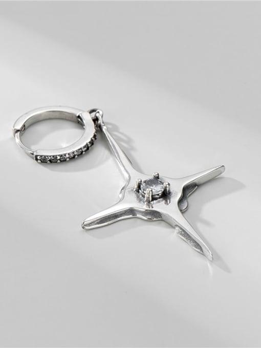 ARTTI 925 Sterling Silver Rhinestone Cross Minimalist Single Earring 2