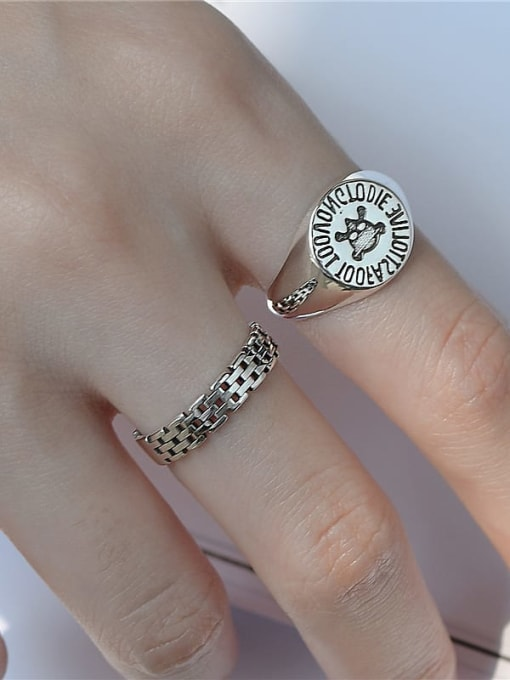 ARTTI 925 Sterling Silver Geometric Vintage Skull Band Ring 1
