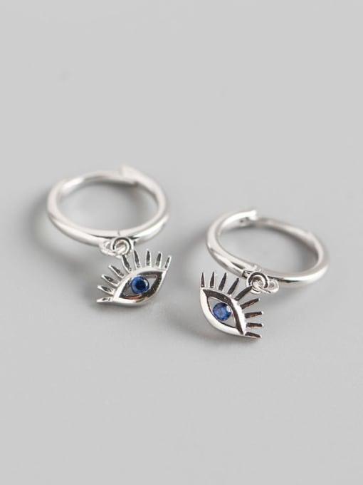 Platinum 925 Sterling Silver Cubic Zirconia Eye Trend Huggie Earring