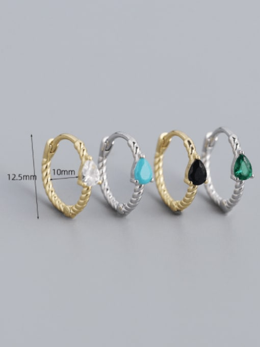 ACE 925 Sterling Silver Cubic Zirconia Geometric Trend Huggie Earring 4