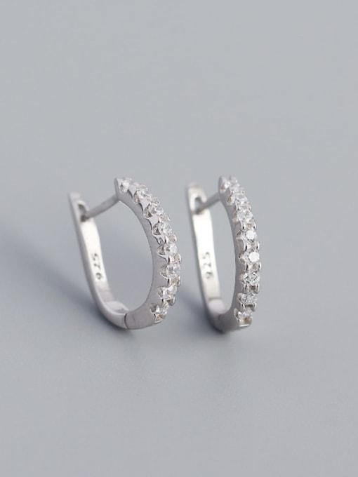 White gold white stone 925 Sterling Silver Cubic Zirconia Geometric Minimalist Huggie Earring