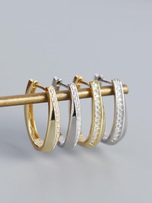 ACE 925 Sterling Silver Cubic Zirconia Geometric Minimalist Huggie Earring 1