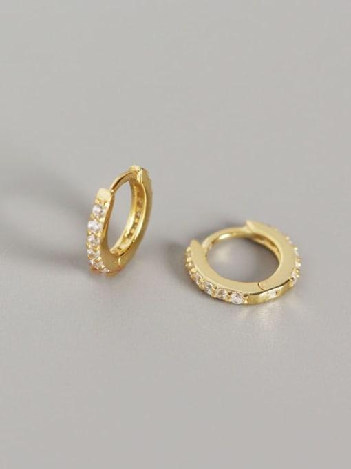 2#Gold (white diamond) 925 Sterling Silver Cubic Zirconia White Geometric Dainty Huggie Earring