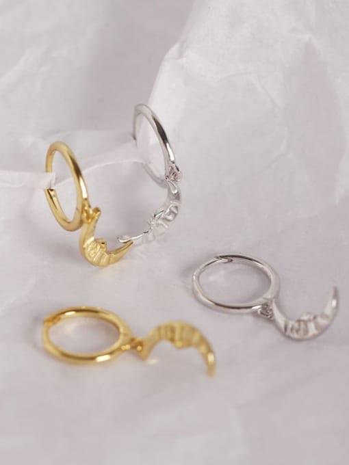 ACE 925 Sterling Silver Moon Trend Huggie Earring
