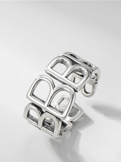 Letter b ring 925 Sterling Silver Geometric Vintage Band Ring