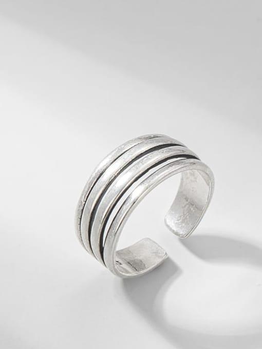 Multilayer line ring 925 Sterling Silver Irregular Vintage Stackable Ring