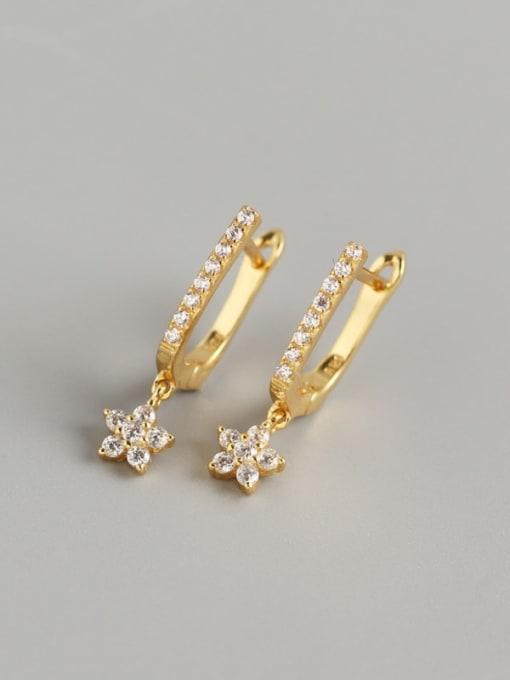 Golden 925 Sterling Silver Cubic Zirconia Geometric Minimalist Stud Earring