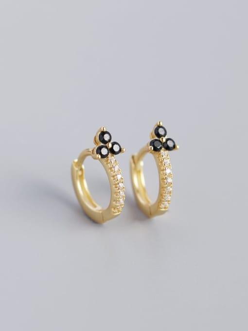 Golden black stone 925 Sterling Silver Cubic Zirconia Flower Dainty Huggie Earring