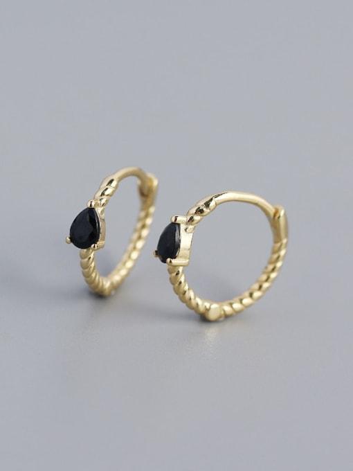 Gold (Black stone) 925 Sterling Silver Cubic Zirconia Geometric Trend Huggie Earring
