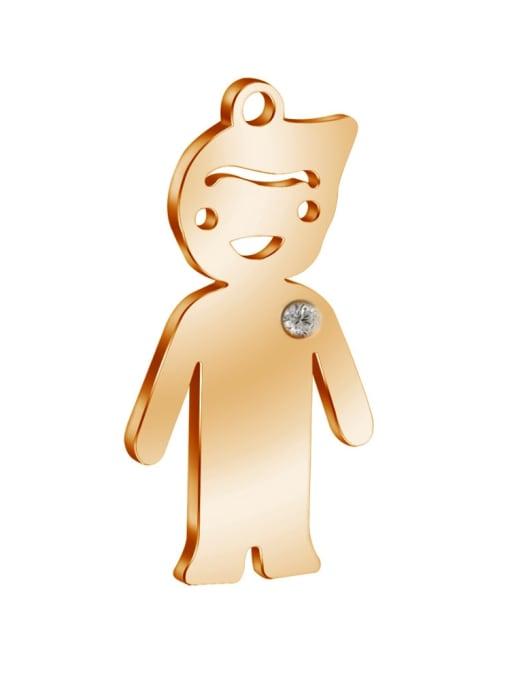 Boy- Rose Gold Color 304L Steel Boy or Girl Pendant, Width:14mm,Height:25mm