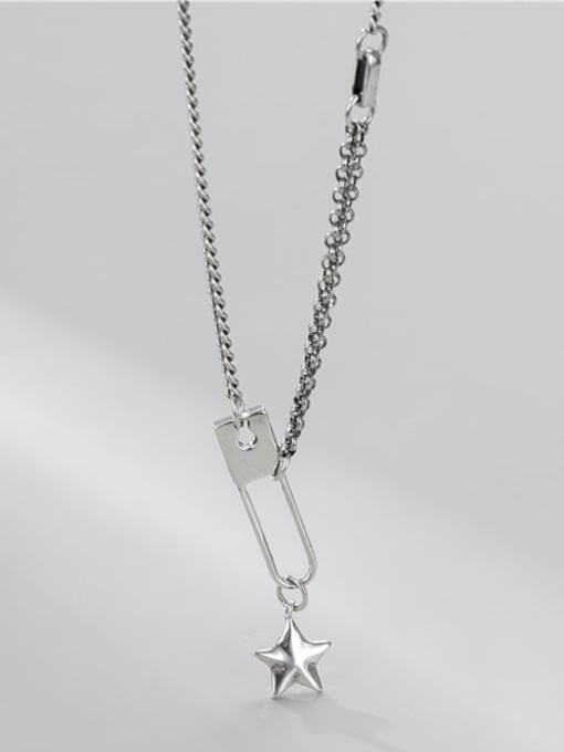 Five pointed star necklace 925 Sterling Silver Geometric Vintage Necklace