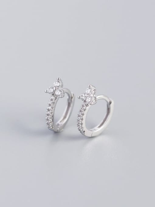 White gold and white stone 925 Sterling Silver Cubic Zirconia Flower Dainty Huggie Earring