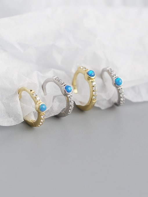 ACE 925 Sterling Silver Opal Geometric Vintage Huggie Earring 3
