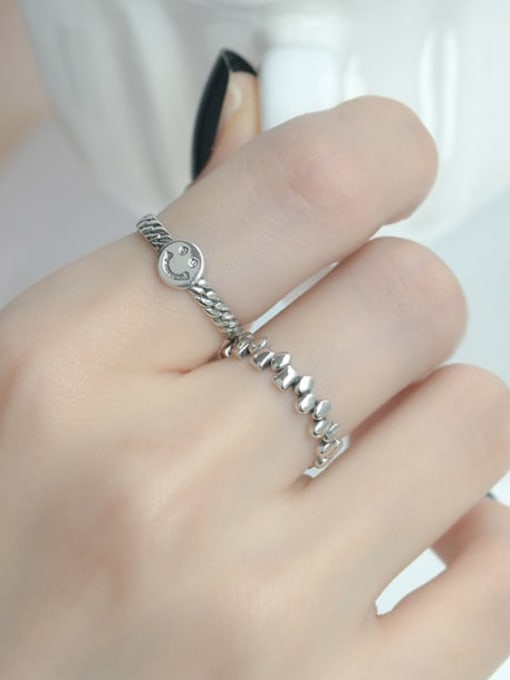 ARTTI 925 Sterling Silver Smiley Vintage Band Ring 1