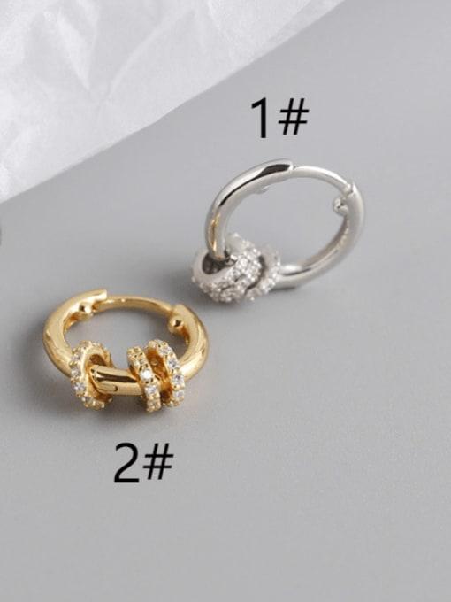 ACE 925 Sterling Silver Rhinestone White Geometric Luxury Huggie Earring 1