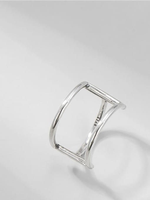 ARTTI 925 Sterling Silver Geometric Vintage Double Layer Line   Band Ring 0