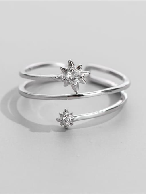 ARTTI 925 Sterling Silver Rhinestone Irregular Vintage Stackable Ring