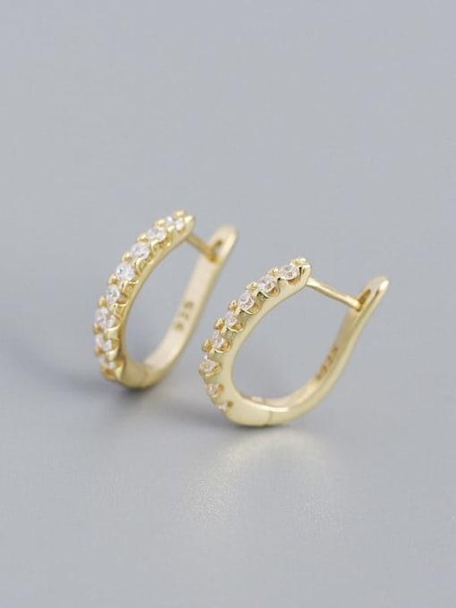 Golden white stone 925 Sterling Silver Cubic Zirconia Geometric Minimalist Huggie Earring