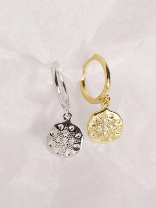 ACE 925 Sterling Silver Rhinestone White Geometric Dainty Huggie Earring