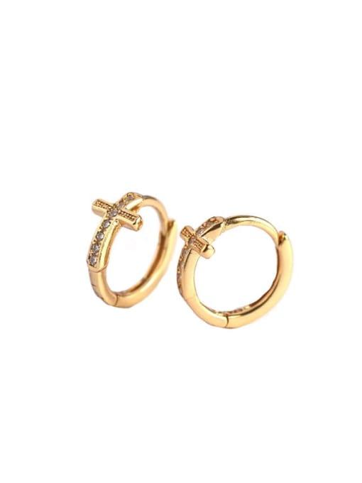 ACE 925 Sterling Silver Cubic Zirconia Cross Minimalist Huggie Earring 3
