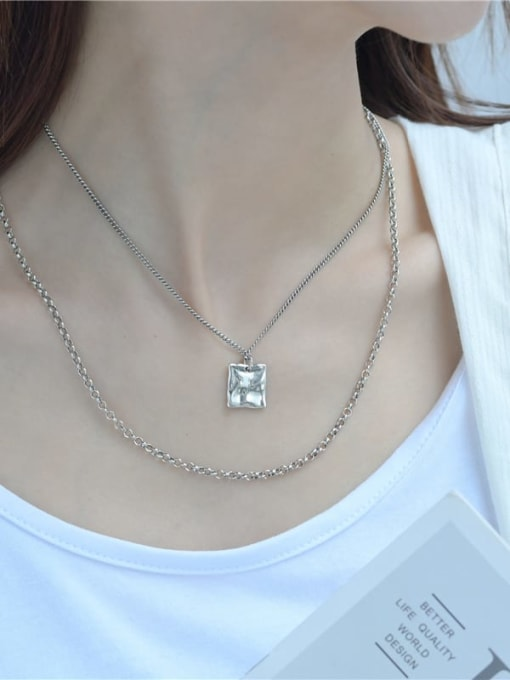 ARTTI 925 Sterling Silver Bead Geometric Vintage Multi Strand Necklace 1