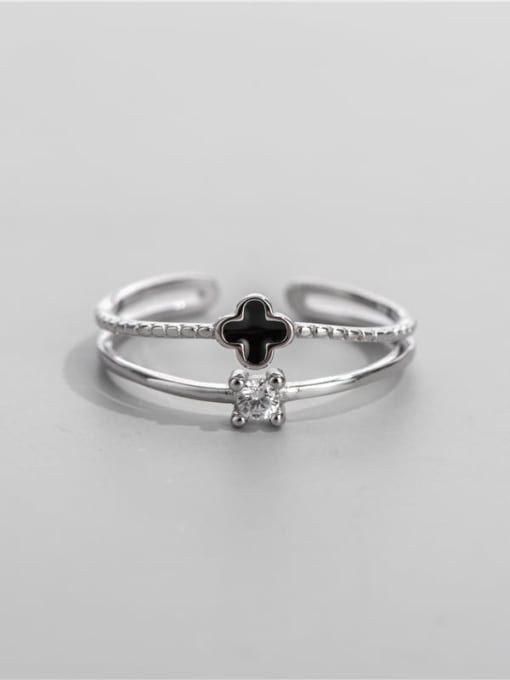Clover ring 925 Sterling Silver Enamel Clover Minimalist Stackable Ring