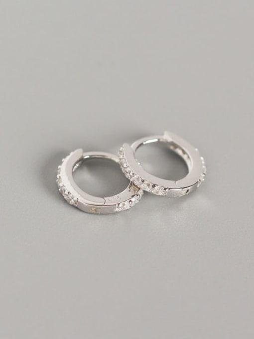 1#Platinum (white diamond) 925 Sterling Silver Cubic Zirconia White Geometric Dainty Huggie Earring