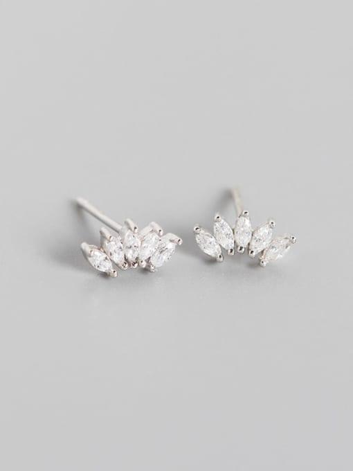 Platinum 925 Sterling Silver Cubic Zirconia Leaf Artisan Stud Earring
