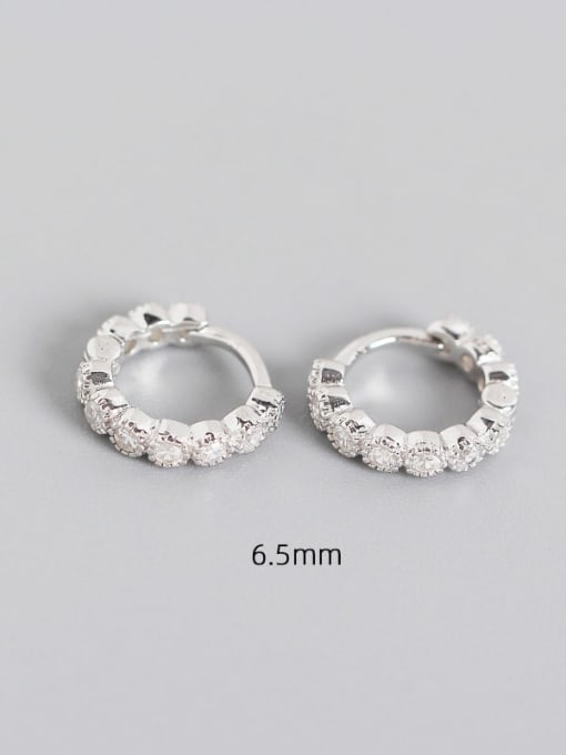 6.5mm White Platinum 925 Sterling Silver Cubic Zirconia Geometric Minimalist Huggie Earring