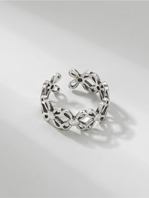 ARTTI 925 Sterling Silver Hollow Clover Vintage Band Ring 0
