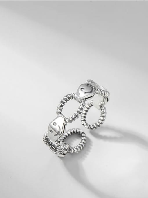 Smile stitching ring 925 Sterling Silver Hollow Geometric Smiley Vintage Band Ring