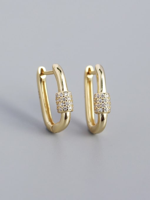 Golden 925 Sterling Silver Cubic Zirconia Geometric Minimalist Huggie Earring